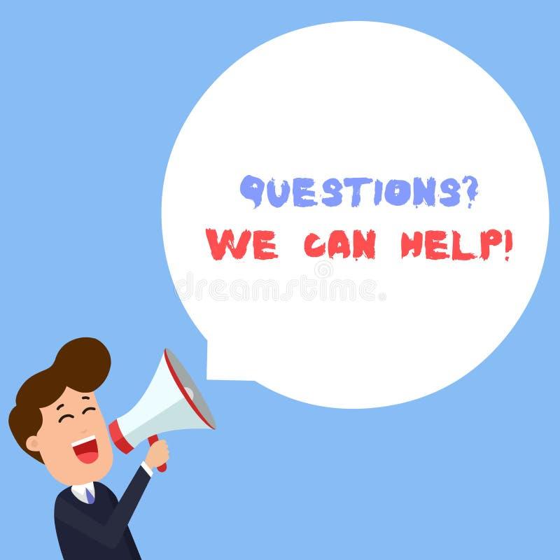 写显示Questionsquestion我们的笔记可以帮助 要知道对那些人的企业照片陈列的提供的帮助 库存例证