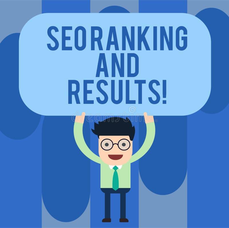 写显示Seo等级和结果的笔记 企业照片陈列的搜索引擎优化统计逻辑分析方法 库存例证