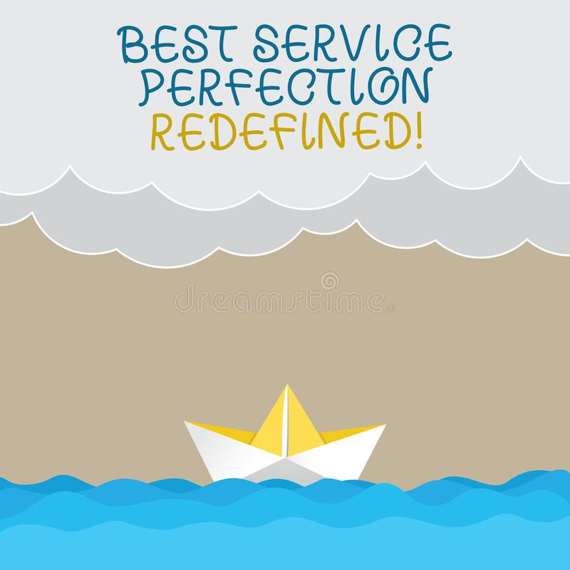 写最佳的服务完美的手写文本重新解释了 概念意思优质优秀顶面服务挥动 库存例证