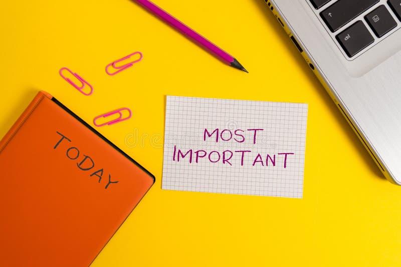 写最重要的手写文本 概念意思最了不起或高度重大的数量或的类似物 免版税库存照片