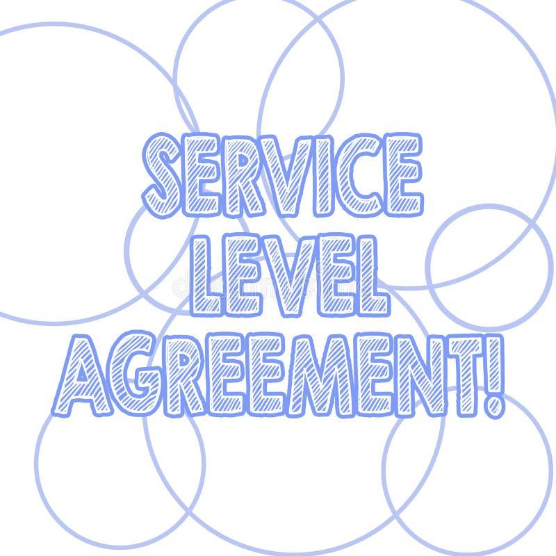 写服务水准协议的手写文本 概念在提供商和客户之间的意思承诺概述  库存例证