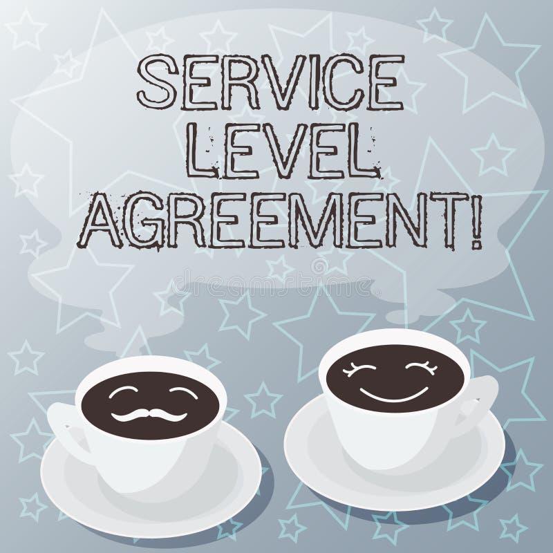 写服务水准协议的手写文本 概念在提供商和客户之间的意思承诺 皇族释放例证