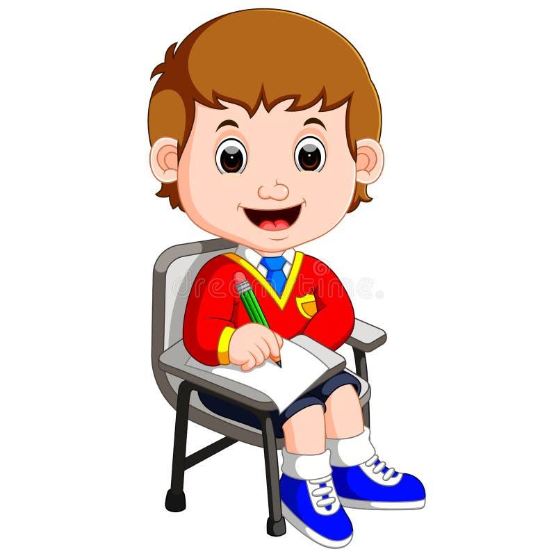 写男孩的学生学习和 向量例证