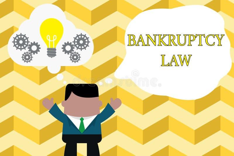 写破产法的手写文本 概念意思被设计帮助在得到债家的财产的债权人 库存例证