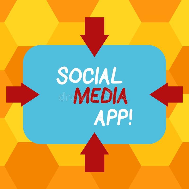 写社会媒介应用程序的手写文本 概念意思创作和分享想法事业兴趣通过互联网 皇族释放例证