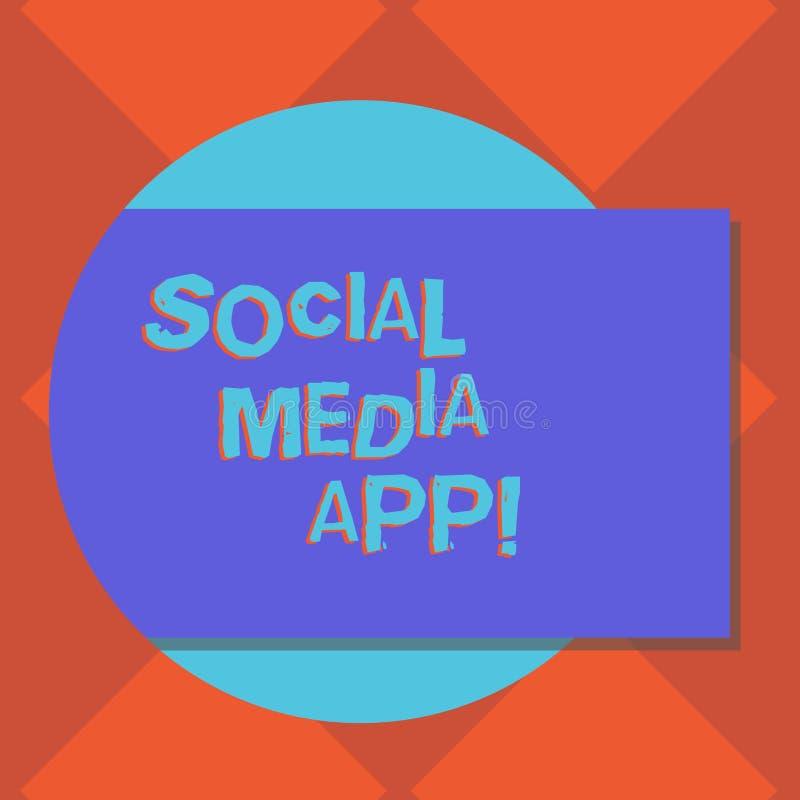 写社会媒介应用程序的手写文本 概念意思创作和分享想法事业兴趣通过互联网 向量例证