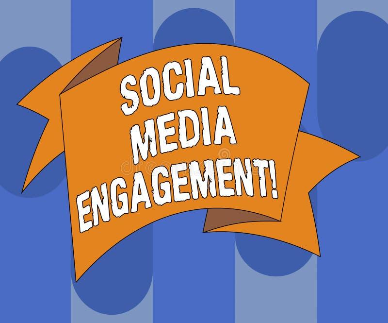 写社会媒介订婚的手写文本 沟通在一个联机用户平台的概念意思折叠了 库存例证