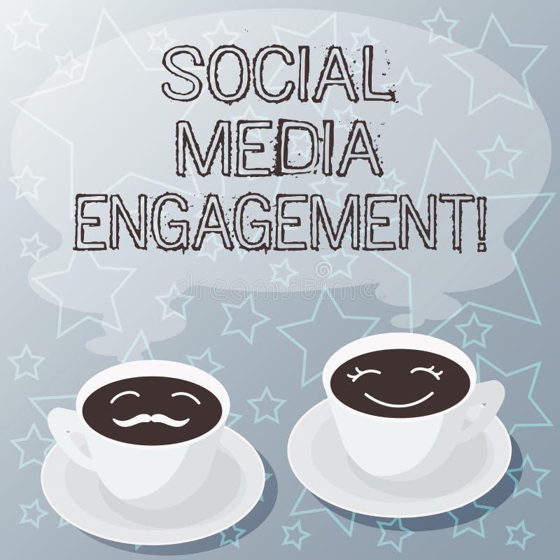写社会媒介订婚的手写文本 沟通在一个联机用户平台的概念意思设置  库存例证