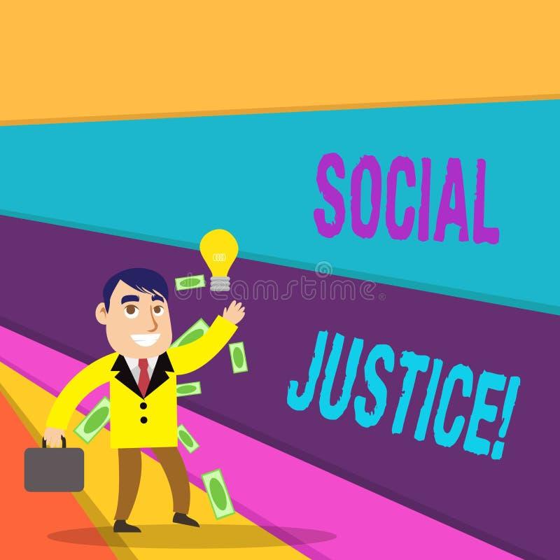 写社会正义的手写文本 意味对财富和特权的概念等长接入在社会内 库存例证