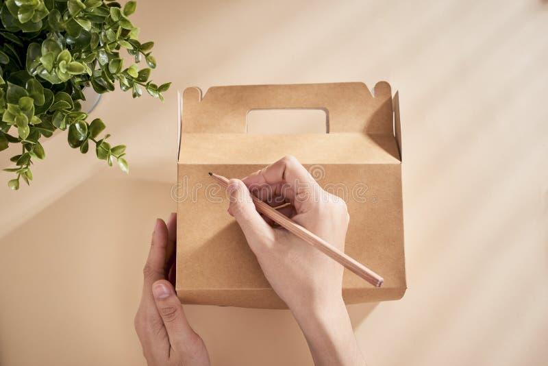 写祝福满满的妇女的播种的图象在有礼物的箱子 免版税库存图片