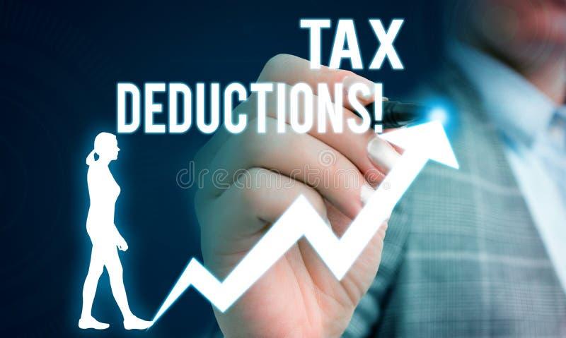 写税收减免的手写文本 意味能女性被收税费用的减少收入的概念 免版税库存照片