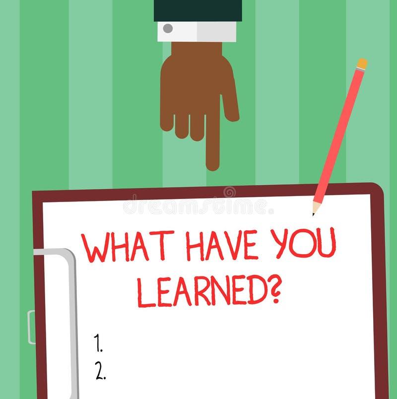 写笔记陈列什么有您Learnedquestion 企业照片陈列告诉我们您的新知识经验胡分析 库存例证