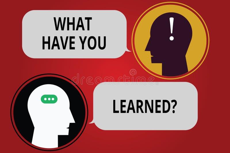 写笔记陈列什么有您Learnedquestion 企业照片陈列告诉我们您的新知识经验 向量例证
