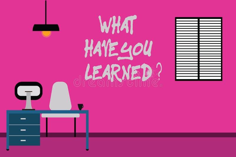 写笔记陈列什么有您Learnedquestion 企业照片陈列告诉我们您的新知识经验 库存例证