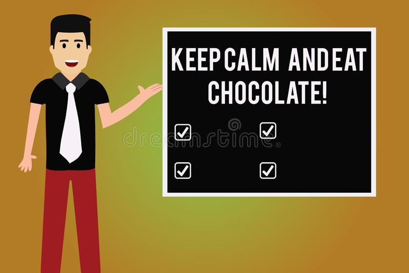 写笔记陈列保留安静并且吃巧克力 当您吃着时,陈列一切的企业照片是更好的 向量例证