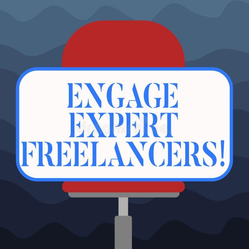 写笔记陈列允诺专家的自由职业者 企业照片陈列的聘用的熟练的承包商短时间运作空白 向量例证