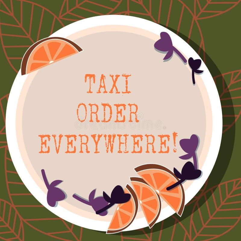 写笔记陈列出租汽车命令到处 陈列被聘用的小室的企业照片搭载乘客到它的指定保险开关  向量例证