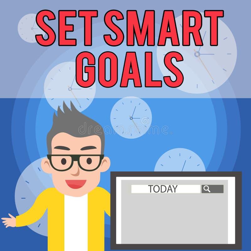 写笔记陈列制定了聪明的目标 陈列企业的照片给标准引导在宗旨设置  库存例证