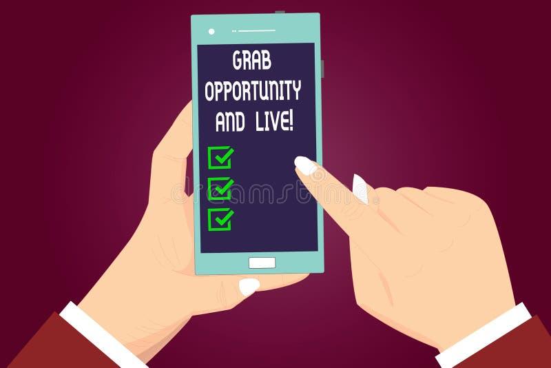 写笔记陈列劫掠机会和活 企业照片陈列利用机会达到您的目标刺激 向量例证