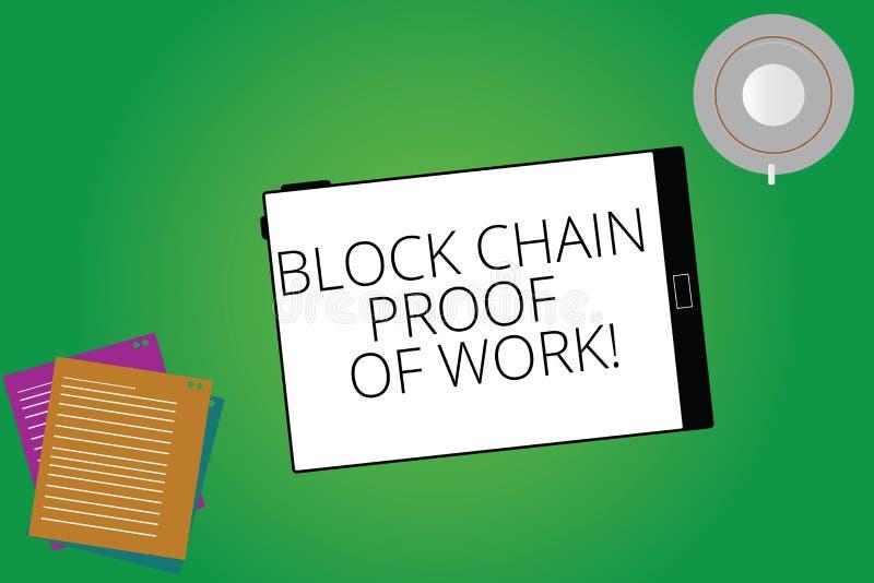 写笔记陈列工作块式链证明  陈列分散的金钱贸易cryptocurrency片剂屏幕的企业照片 库存例证