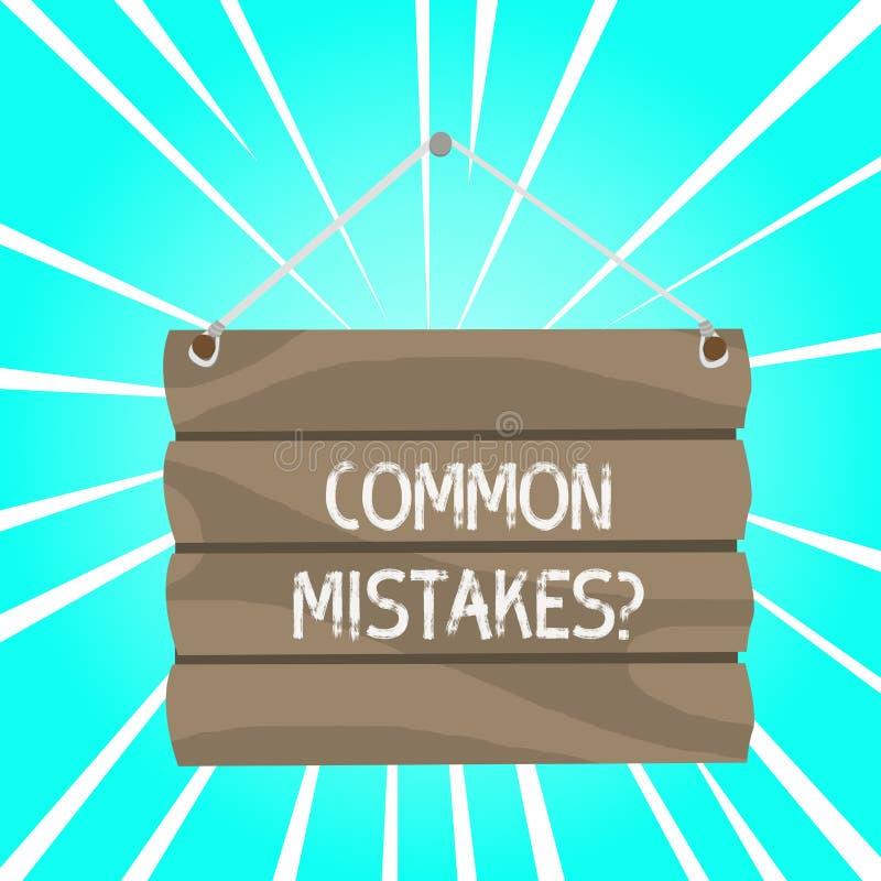 写笔记陈列常见错误问题 企业照片陈列的重复行动或评断引入了歧途做 向量例证