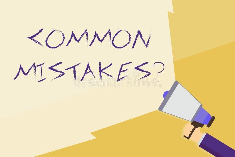 写笔记陈列常见错误问题 企业照片陈列的重复行动或评断引入歧途或错误手 库存例证