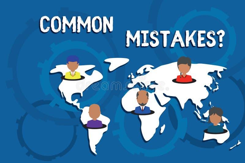 写笔记陈列常见错误问题 错误企业照片陈列的重复的行动或的评断引入歧途或 向量例证