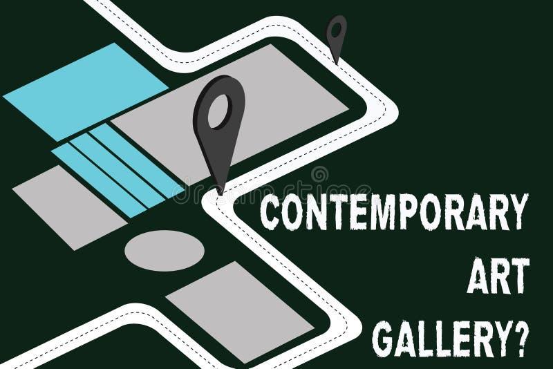 写笔记陈列当代艺术Galleryquestion 陈列私有forprofit商业画廊的企业照片 向量例证