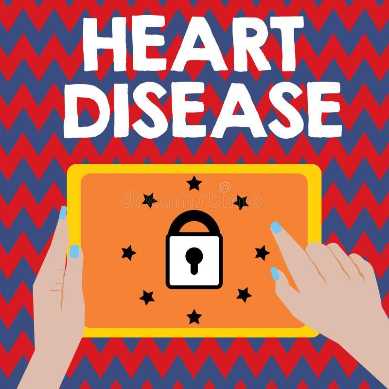 写笔记陈列心脏疾患 介入封锁的血液的企业照片陈列的心脏病情况 库存例证