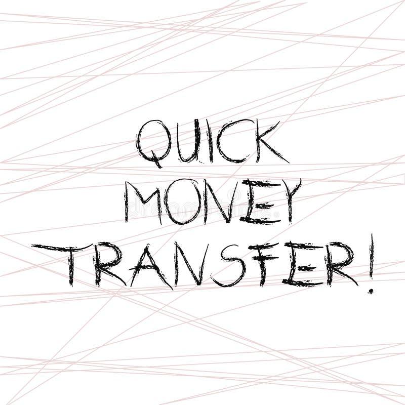 写笔记陈列快的汇款 陈列捷径的企业照片电子上或完全移动金钱 向量例证