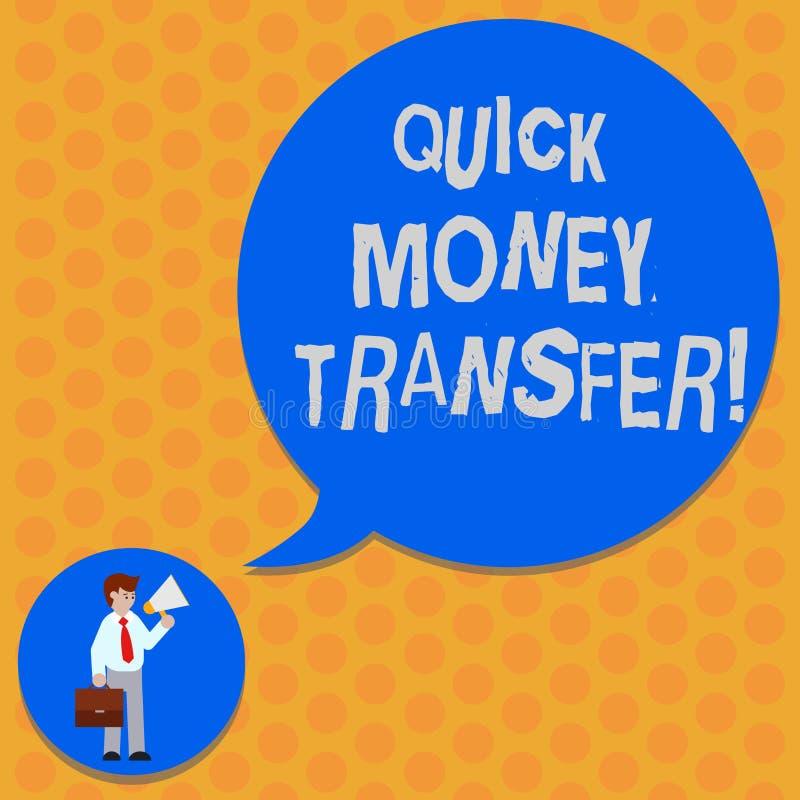 写笔记陈列快的汇款 陈列捷径的企业照片电子上或完全移动金钱 库存例证