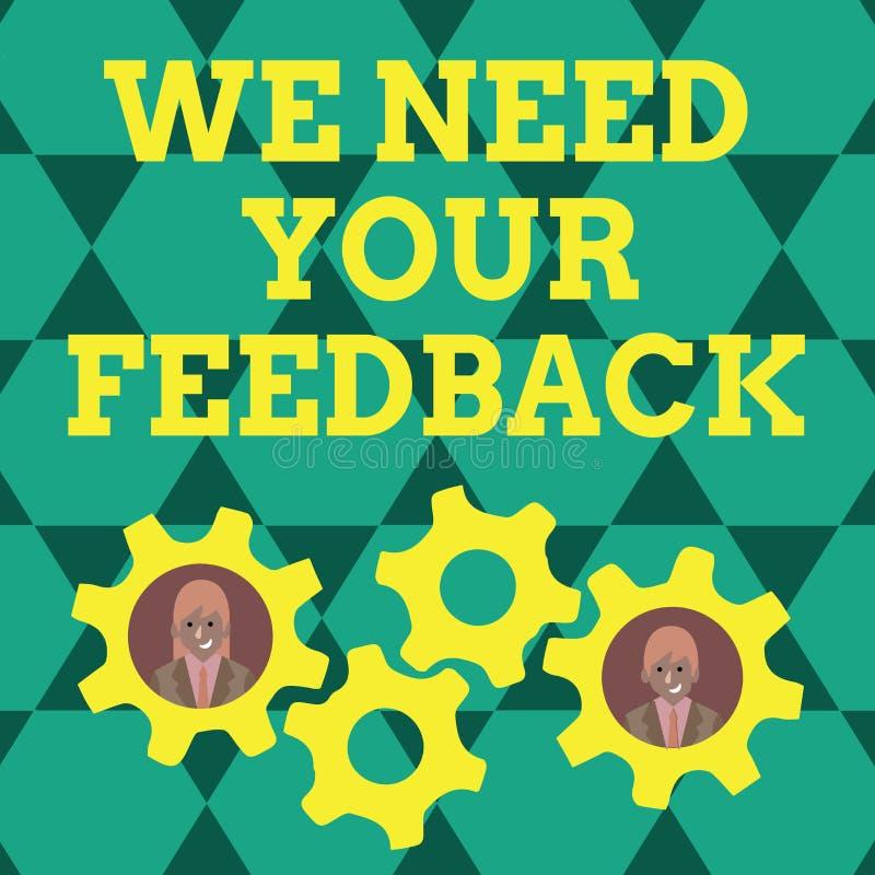 写笔记陈列我们需要您的反馈 企业照片陈列的批评指定说可以是完成的改善两 向量例证