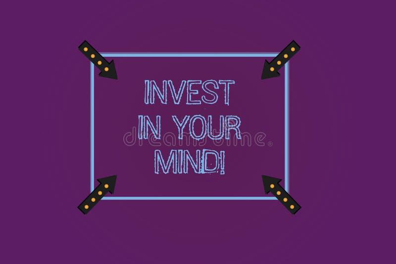 写笔记陈列投资在您的头脑 企业照片陈列得到新知识更多教育改进自己 皇族释放例证