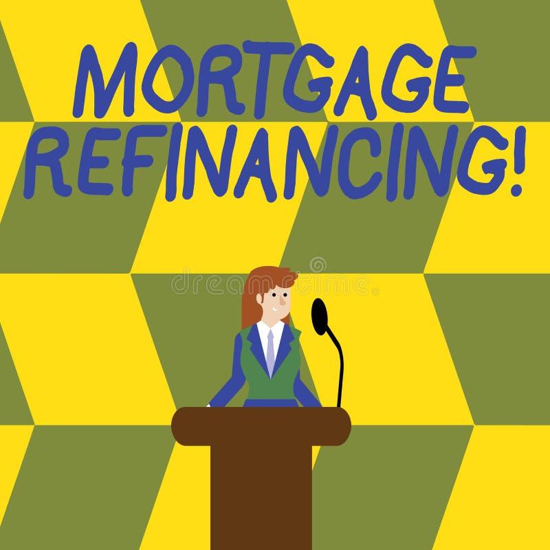 写笔记陈列抵押重新贷款 现有的债务的替换的企业照片陈列的过程 库存例证