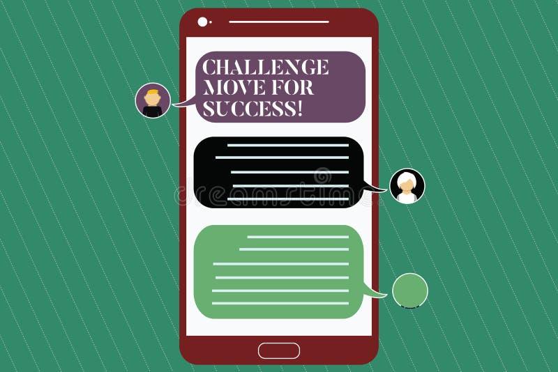 写笔记陈列挑战移动成功的 陈列专业运动战略的企业照片成功 库存例证