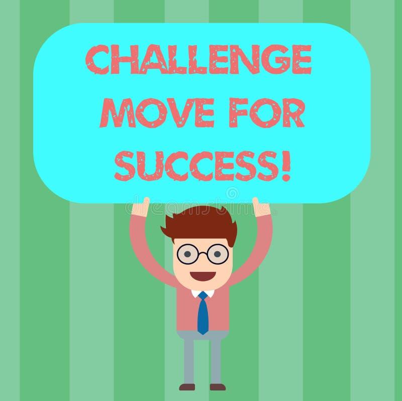 写笔记陈列挑战移动成功的 陈列专业运动战略的企业照片继人之后 库存例证
