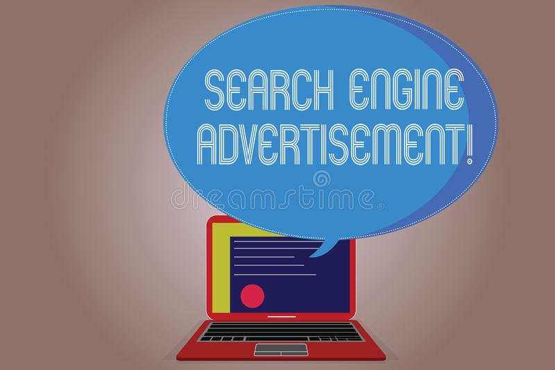 写笔记陈列搜索引擎广告 陈列企业的照片安置网上广告在网页 库存例证