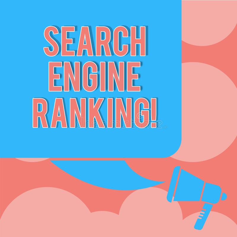 写笔记陈列搜索引擎等级 站点出现于搜索引擎询问颜色的企业照片陈列的等级 向量例证