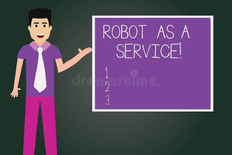 写笔记陈列机器人作为服务 陈列人工智能数字协助闲谈马胃蝇蛆的企业照片 向量例证