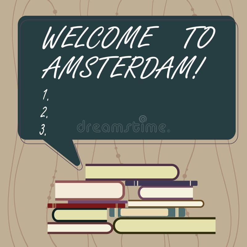 写笔记陈列欢迎到阿姆斯特丹 企业照片陈列的问候某人访问首都  皇族释放例证