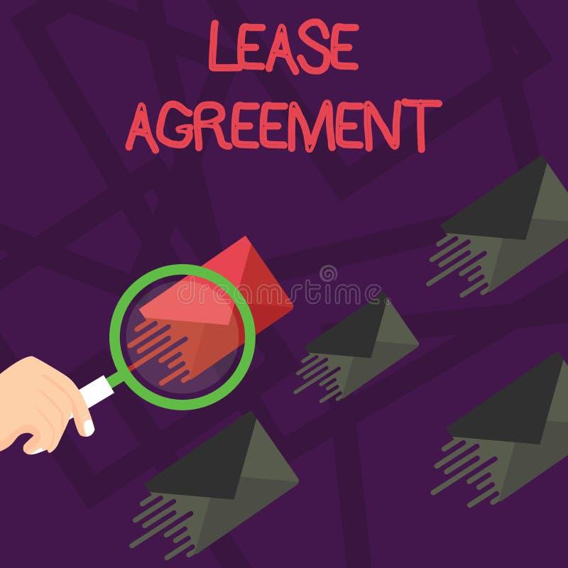 写笔记陈列租借协定 以方式的企业照片陈列的合同对一个党同意租物产 库存例证