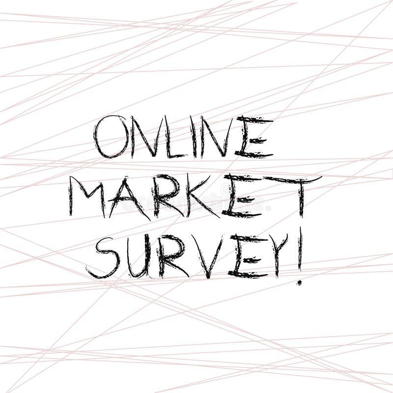 写笔记陈列网上市场调查 陈列企业的照片收集信息重要对市场研究 向量例证