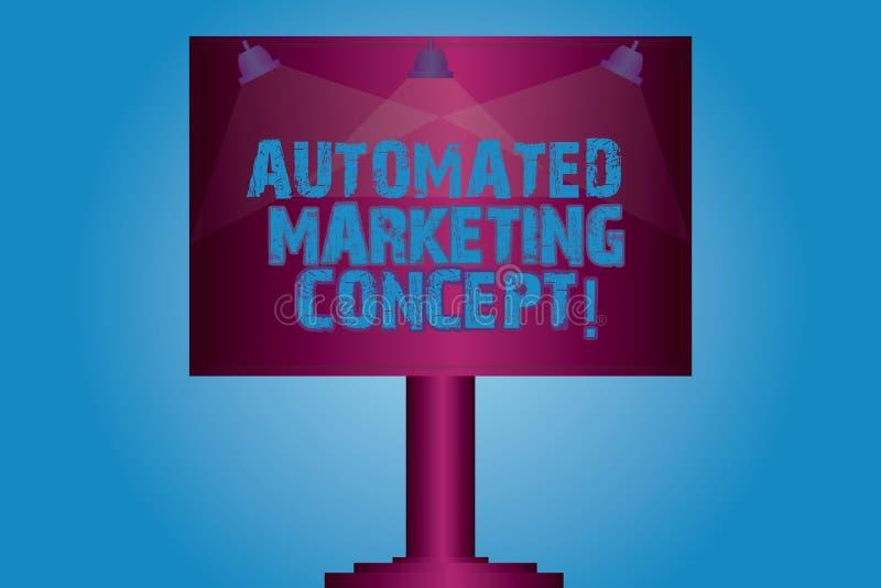 写笔记陈列自动化的营销概念 企业照片陈列自动化反复任务例如电子邮件删去灯 库存例证