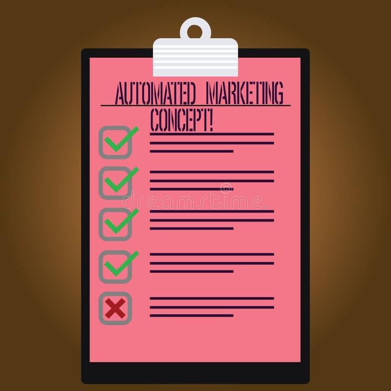 写笔记陈列自动化的营销概念 企业照片陈列自动化反复任务例如电子邮件排行了颜色 库存例证