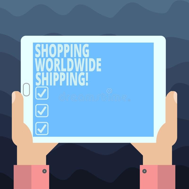写笔记陈列购物的全世界运输 直接地陈列企业的照片在网上买与国际 皇族释放例证