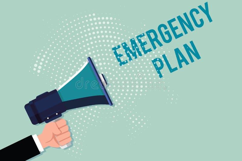 写紧急办法的手写文本 概念反应的意思做法对主要的紧急事件准备 向量例证