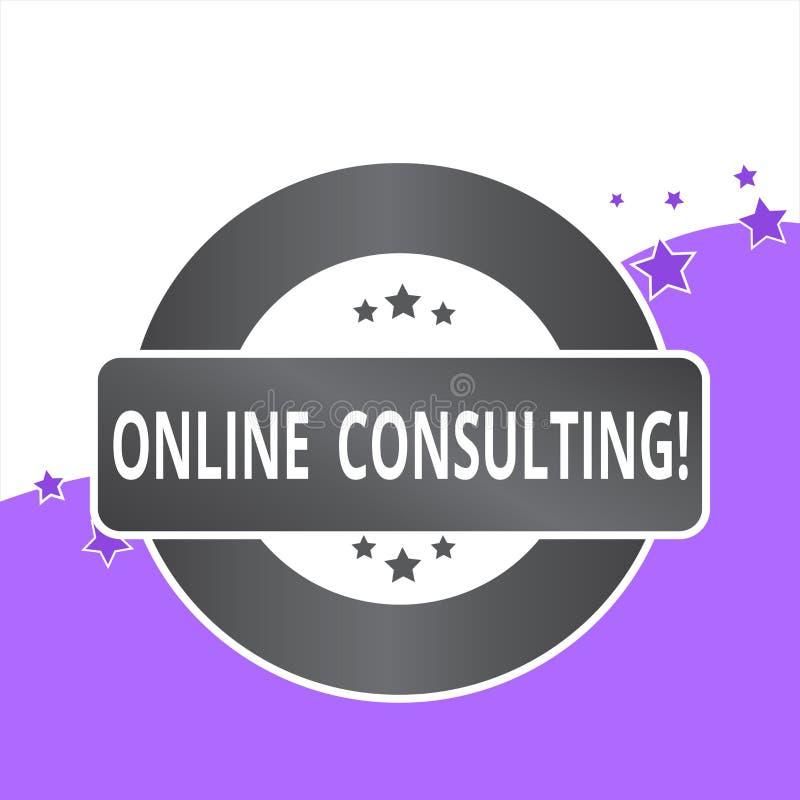 写网上咨询的手写文本 概念意味从通过展示得到信息或忠告 库存例证