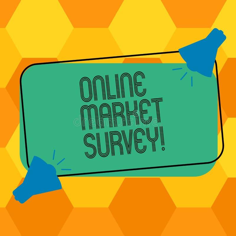 写网上市场调查的手写文本 意味的概念收集信息重要对市场研究两 库存例证