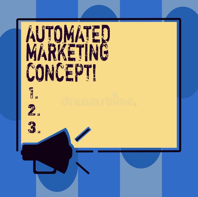 写自动化的销售的概念的手写文本 概念意思自动化反复任务例如电子邮件扩音机声音 皇族释放例证