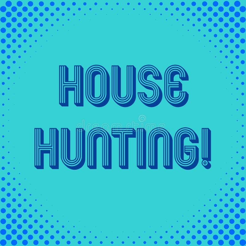 写觅房行动的手写文本 意味搜寻或寻找的概念房子行动买或租赁 库存例证